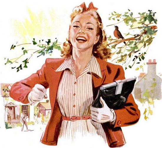 This lovely 1940s gal has plenty of springtime pep in her step! #vintage #illustration #1940s #spring #summer