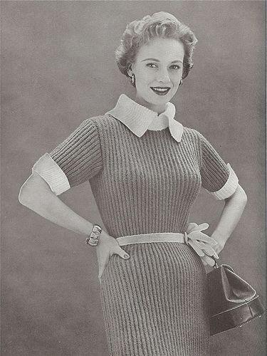 "1954 Bernat ""jumbo knit"" dress. #vintage #fashion #1950s"