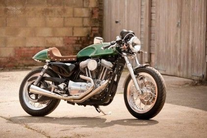 Harley Sportster Cafe Racer and its green!