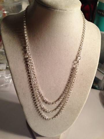 Multi Chain Necklace Silver Necklace Triple Strand Chain by cdjali, $25.00