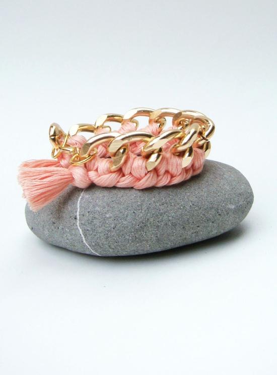 Champagne Pink Braided Chain Bracelet. $18.00, via Etsy.