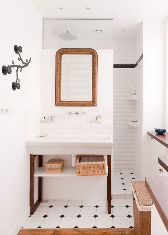 black and white bathroom. love the tile floor
