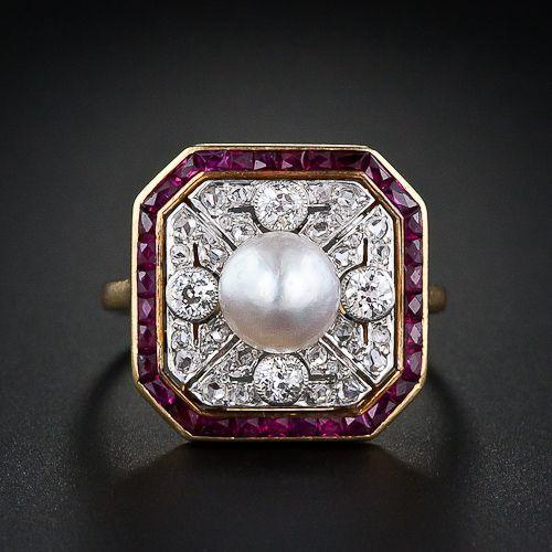 Edwardian Ruby, Diamond and Natural Pearl Ring