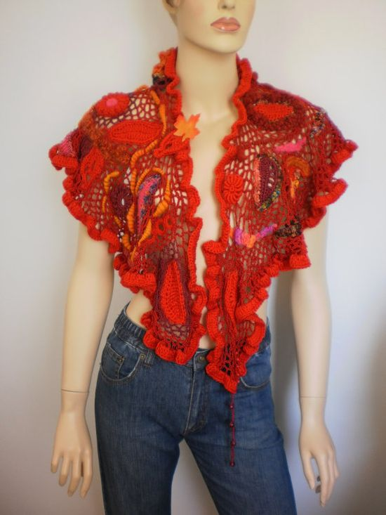 Dance into the Fire Lace  Crochet Scarf Shawl  by levintovich