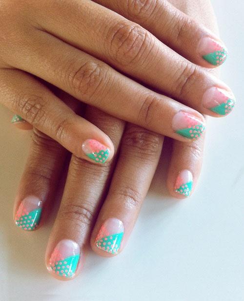 mint / pink dot nails #nail #art