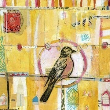 i would hang this on my wall. little yellow bird collage