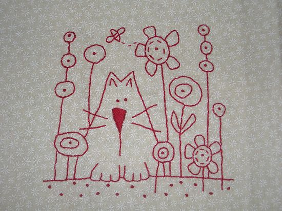 Kitty in the flowers. Hatched and Patched design