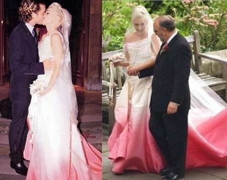Gwen Stefani's wedding gown designed by John Galliano had a gorgeous pink infusion