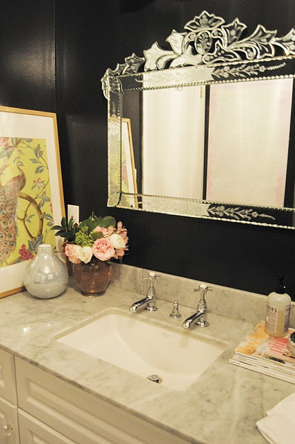gorgeous black bathroom. that mirror, get out!!