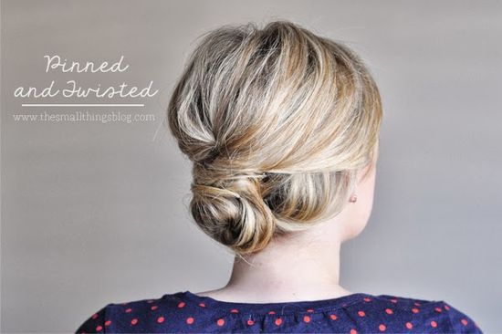 A pretty pinned and twisted updo from our friend Kate Bryan at the Small Things Blog; click on the photo to get her video tutorial.
