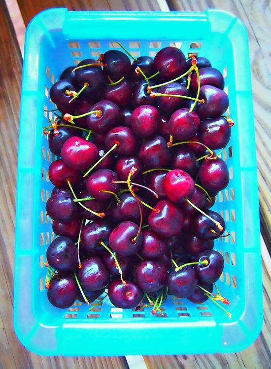Yum fresh cherries from he farmers market!