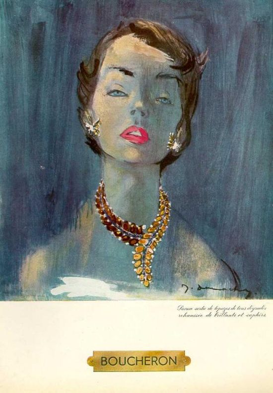 vintage jewelry ad: vintage Boucheron jewelry ad.