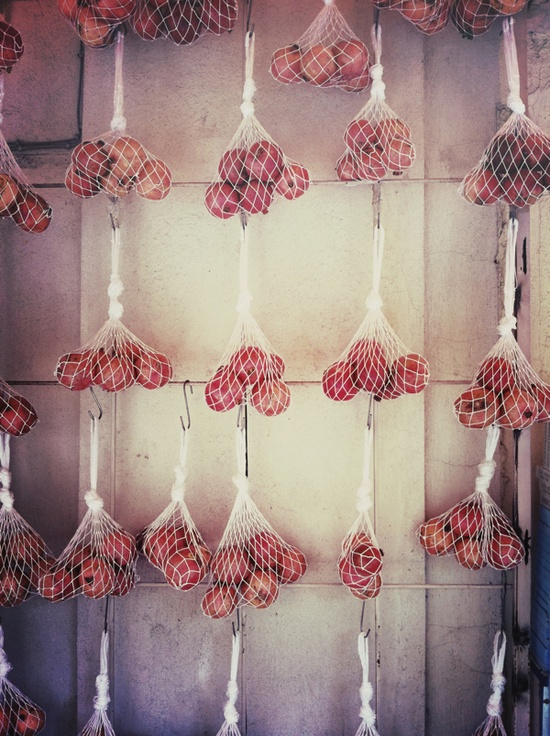 beautiful display - fruit in nets