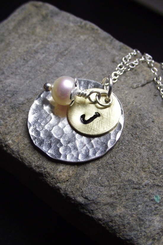 Hand Stamped Initial Jewelry - Mixed Metal Necklace