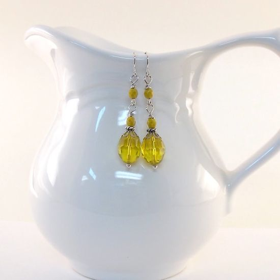 Yellow Crystal Earrings Czech Glass Mustard by CinLynnBoutique, $17.00