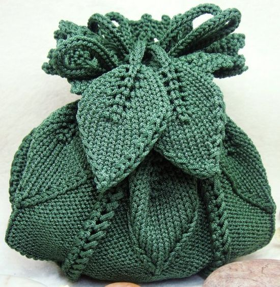 Pretty dark olive green knitted pumpkin purse with leaves on belt