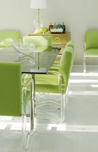 A Divine Dining Room. Apple green and acrylic. Interior Designer: Moises Esquenazi.