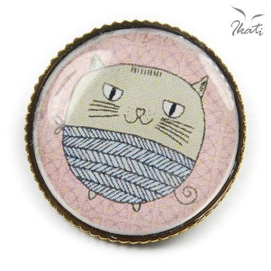 Funny FUNIO THE KITTEN - original vintage style bronze brooch, photo-brooch, graphic, cat, tomacat