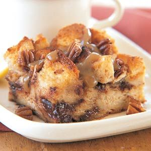 This chocolate bread casserole could be served at breakfast or for dessert.