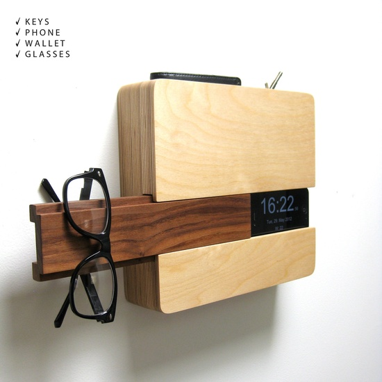"""""""The Butler"""" by San Diego's Curtis Micklish. Made to hold your iPhone (with built-in charger), wallet, keys, etc."""