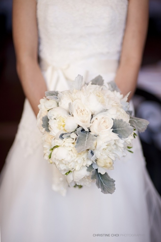 gorgeous bouquet of peonies, roses, tulips, freesia, and dusty miller: