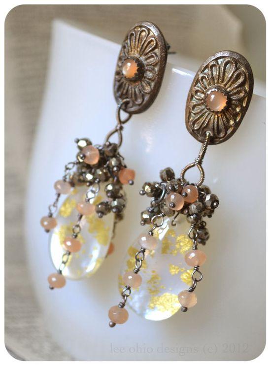 Edwardian vintage wedding Mother of Pearl earrings - Lavinia by LeeOhio