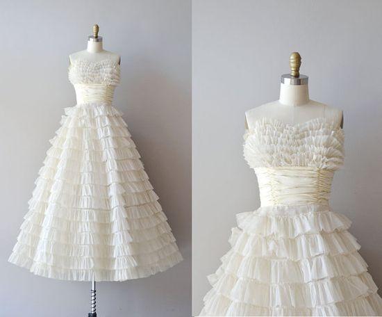 1950s wedding dress / vintage 50s dress / Layer Cake by DearGolden, $885.00