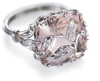 Amazing pink diamond ring with vines. I can't find the source.  Edit: it's not a pink diamond but morganite. Can be custom made here: www.custommade.co...