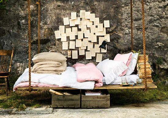 Outdoor Swinging Bed www.desiretoinspi...  #bed #swing #swinging #outdoor #spaces #decor #living #garden #rustic
