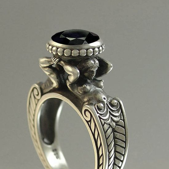 CARYATID Silver Ring with Black Spinel by WingedLion on Etsy, $225.00