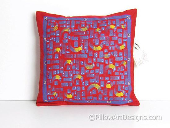 The Patron: Red Linen Hand Made Pillow Cover by BrushAndFeather, $26.00.