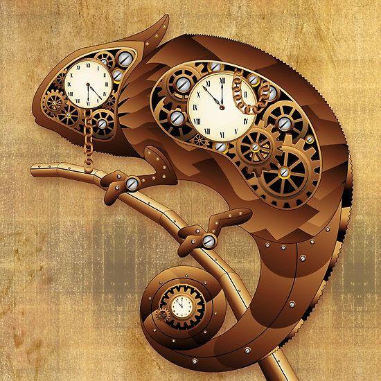 Steampunk Chameleon Vintage Style