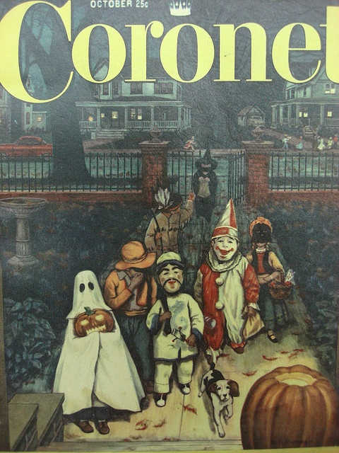 Delightfully illustrated cover of the October 1955 copy of Coronet magazine featuring a group of kids out gathering trick-or-treat candy. #magazine #cover #vintage #1950s #fifties #costumes #Halloween #cute