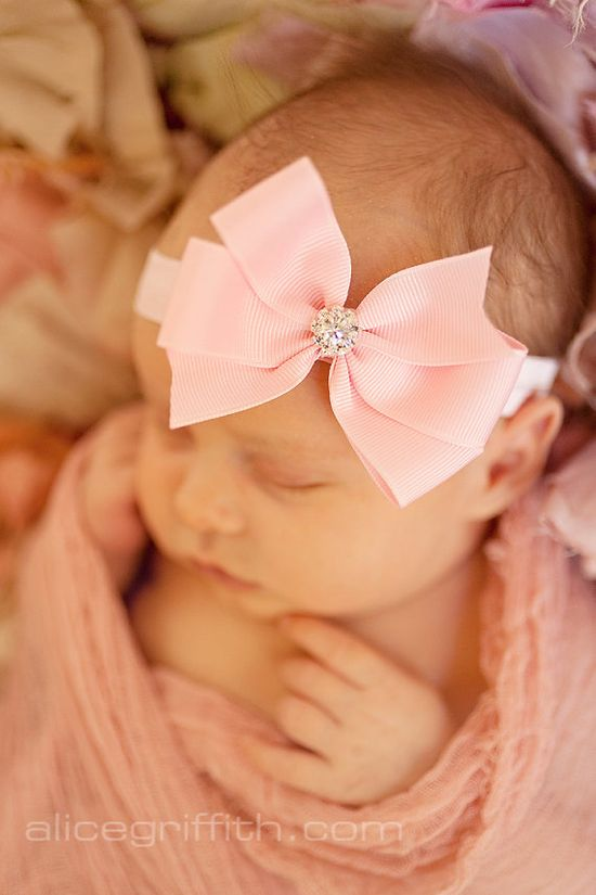 Baby headband, light pink  bow headband, baby girl headband,  newborn headband, Infant headband, rhinestone bow headband on Etsy, $9.95