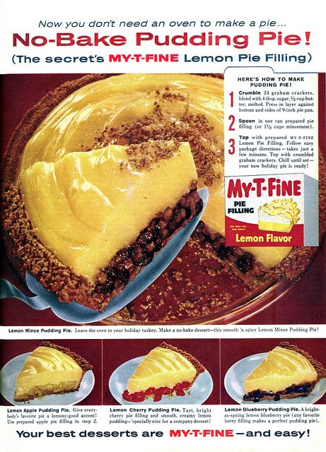 A colour photo ad from 1959 feauturing recipes for four different kinds of No-Bake Lemon Pudding Pies. #pie #holidays #cooking #food #vintage #ads #pudding #fruit #no_bake