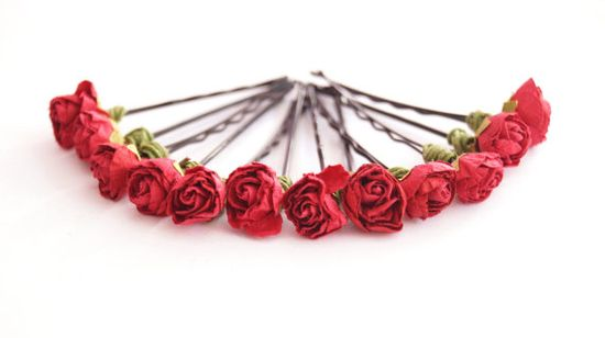 Bridal Hair Accessories Red Rose red flower Hair by BridalFairy, $20.00
