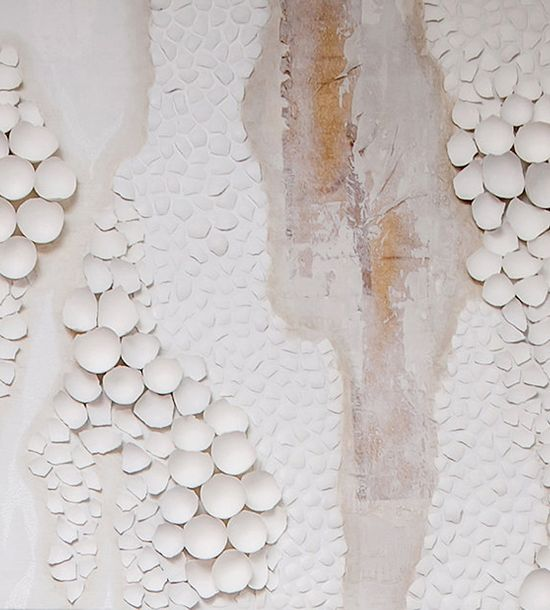 Unfinished Poem – White Abstract Painting from egg shells//