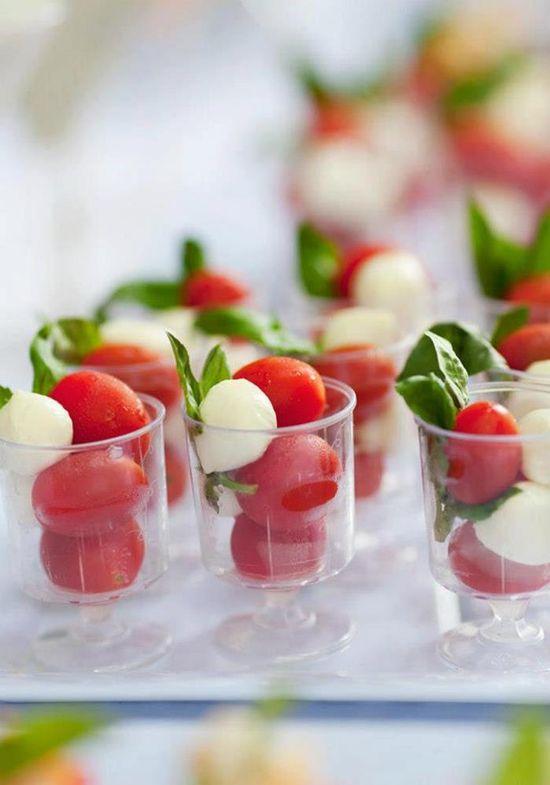 Caprese in mini cordial cups! Perfect! Found via Kara's Party Ideas