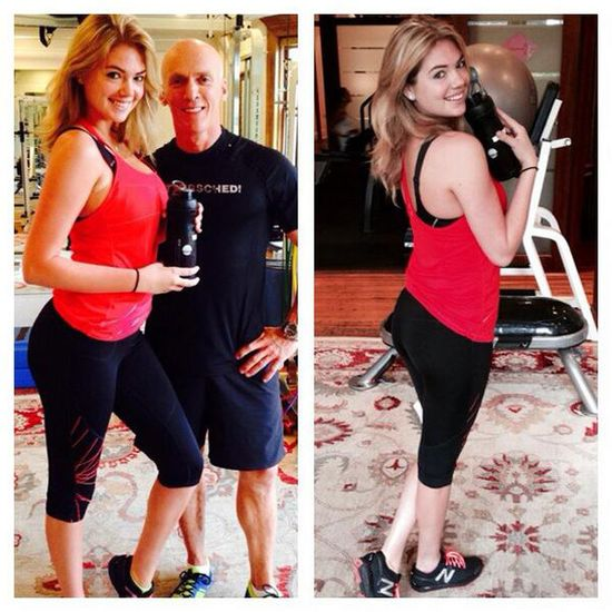 Kate Upton works out in Heidi Klum New Balance gear.
