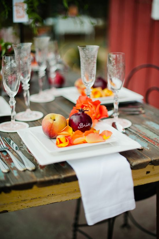 Fall Reception Trend: Seasonal Fruit & Greens // Lola Elise Photography // blog.theknot.com/...