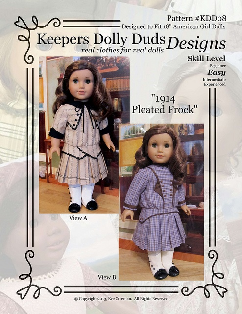 "Pattern KDD08 ""1914 Pleated Frock"" Keepersdollyduds lastest Pattern Released (Jan24/13) by Keepersdollyduds, via Flickr"