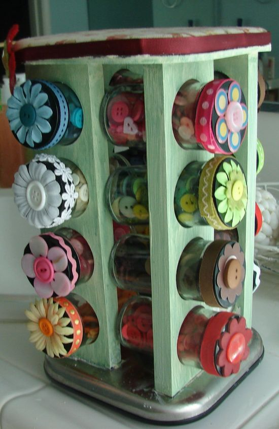altered spice rack made into a button holder - clever!