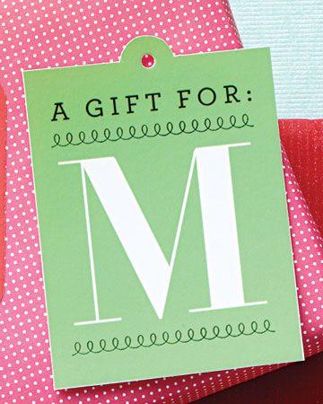 Monogram gift tag printables