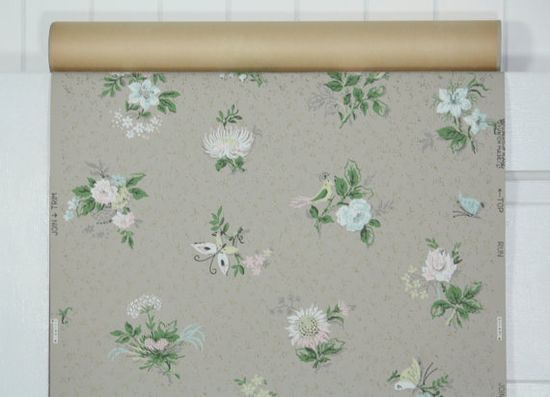 1940's Vintage Wallpaper butterfly and birds by HannahsTreasures, $14.00
