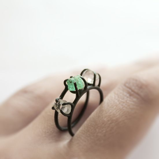 This emerald and Herkimer diamond ring is a stunner. $230