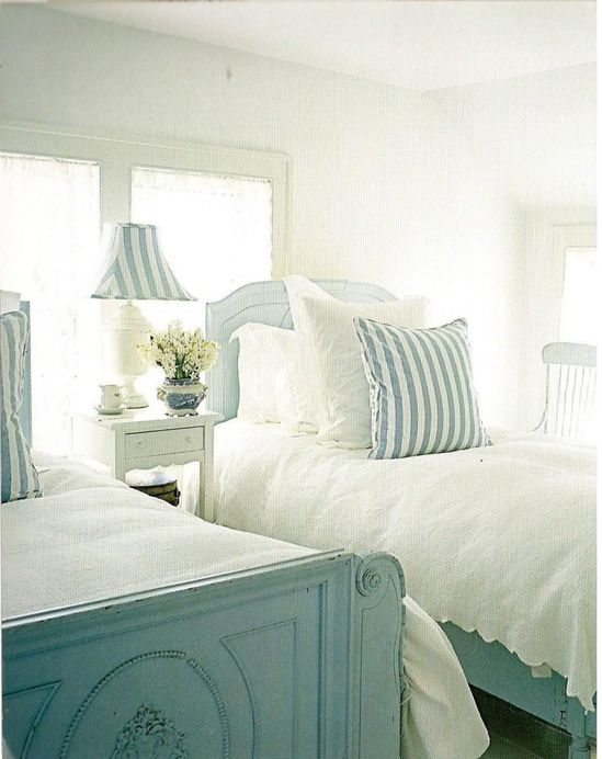 Beach cottage bedroom. So Pretty!