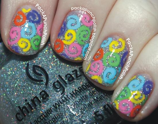 Rainbow Glitter Swirl Nails