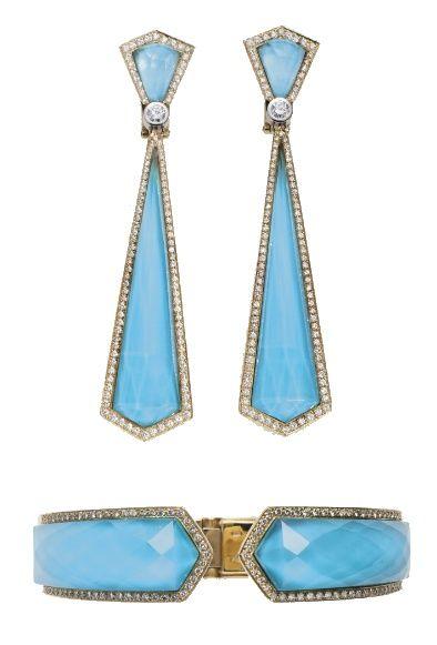 Beautiful diamond trimmed earrings and bracelet.