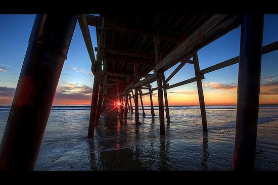 #sunset through the pier #water #reflections