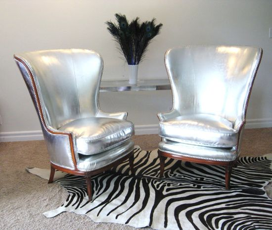 Vintage HOLLYWOOD REGENCY Pair SILVER Wing Back Lounge Chairs